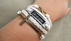 Dream Bracelet,crucifix, Unlimited, Gun Black Dream, White Braided Bracelet, Everyone Has A Dream Br from Picsity.com