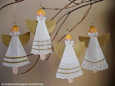 Day 18 angel ornaments made from paper doilies (dress) and scrap paper (wings). Christmas Angel Crafts, Preschool Christmas, Christmas Activities, Christmas Projects, Holiday Crafts, Christmas Holidays, Christmas Decorations, Christmas Ornaments, Stick Decorations