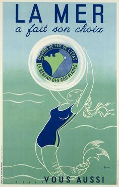 La Mer a fait son choix.....vous aussi, Chemins de fer de l'Etat, France, Plages de l'Atlantique. Vintage travel beach poster #essenzadiriviera - www.varaldocosmetica.it/en