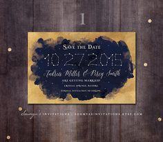 Constellation Save the Date Navy and Gold by soumyasinvitations