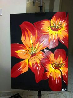 Painting Painting Canvas Crafts, Flower Painting Canvas, Diy Painting, Painting & Drawing, Watercolor Paintings, Black Canvas Paintings, Canvas Art, Painting Lessons, Painting Techniques