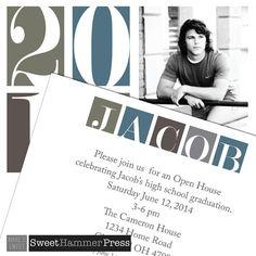 2016 Bold Graduation Announcement or Grad Invitation Guy. Digital Grad Announcement Boy Printed Graduation Party Invitation Masculine Grad