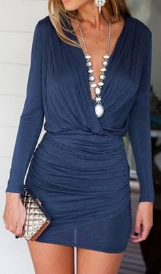 Love the Draping! Comfy Solid Color BLue Bodycon Plunging Neck Mini Dress #Sexy #Draped #Blue #Mini #Dress #Fashion