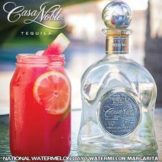 The Watermelon Margarita: perfect for National Watermelon Day, try it, you are going to LOVE it!  - 2 oz Casa Noble Crystal - 1 oz mango Juice - 1 oz cranberry Juice - 2 oz Watermelon puree - 2 dashes cherry bitters  Combine all ingredients into shaker tin and shake. Strain into a glass with ice. Garnish with a lime and lemon wheel, and watermelon stick