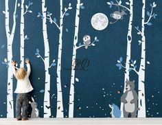 Birch Tree Wall Decal, Tree Wall Murals, Wall Sticker, Wall Decals, Wall Art, Wall Drawing, Beautiful Forest, Baby Boy Rooms, Baby Room Decor