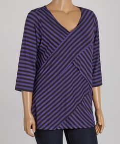 Look what I found on #zulily! Plum & Black Stripe Bandage V-Neck Tunic - Plus by Allie & Rob #zulilyfinds