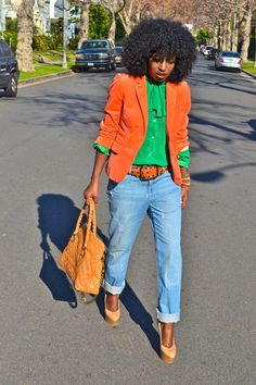 Discover this look wearing Chartreuse American Apparel Blouses, Light Blue Michael Kors Jeans tagged colors - American Apparel Bow Blouse by StylePantry styled for Chic, Everyday in the Fall Orange Blazer Outfits, American Apparel, Green Outfits For Women, Look 2018, Michael Kors Jeans, Velvet Blazer, Colourful Outfits, Boyfriend Jeans, Autumn Winter Fashion