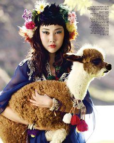 Han Hye Jin in Vogue Korea by Alexander Neumann, with baby lama?