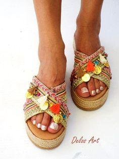 Coral wedged Heel Platform Slip on  sandals free shipping