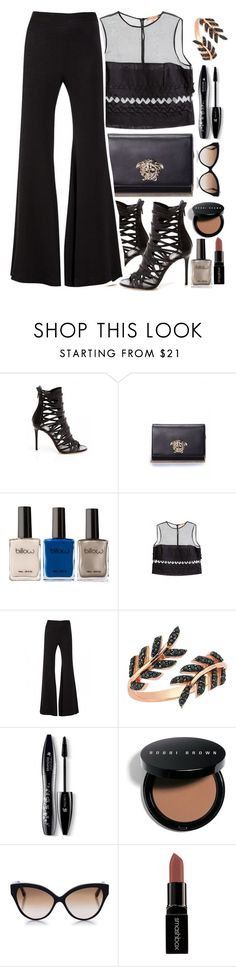 """Lady In Black"" by firstboutique ❤ liked on Polyvore featuring Versace, Ermanno Scervino, Lancôme, Bobbi Brown Cosmetics, Cutler and Gross and Smashbox"