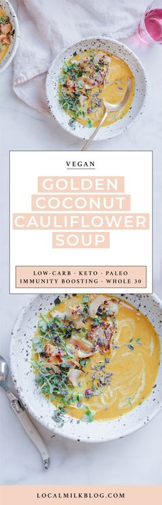 Quick and easy Healing Vegan Turmeric Coconut Milk Cauliflower Soup. This healthy, low carb detox recipe is immunity boosting and healing as well as Paleo, Keto, and Whole 30 diet friendly!