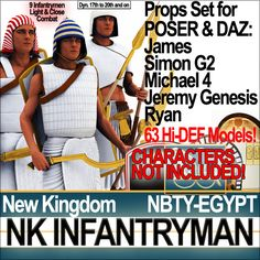 Egyptian NK Infantryman Props Set with 63 props. All 3D models ready for POSER James, Simon G2, Ryan and free DAZ Michael 4, Jeremy Genesis....