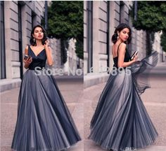 Aliexpress.com   Buy Fashion satin tulle princess evening dress ball gown v  neck sexy backless online cheap dresses evening gowns formal night dress  from ... 1a9e81bc8