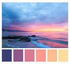 Beach Color Palettes, Sunset Color Palette, Sunrise Colors, Color Schemes Colour Palettes, Paint Color Schemes, Colour Pallette, Color Palate, Beach Color Schemes, Sunrise Sunrise