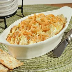 Crunchy Onion and Artichoke Dip #artichokes #appetizers #dips