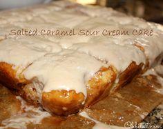 ~Salted Caramel Sour Cream Cake! - cake mix, jar or caramel, sour cream, canned icing and sea salt. WOW!