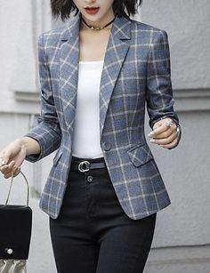 Women's Daily Basic Plus Size Short Blazer, Check Notch Lapel Long Sleeve Polyester Dark Gray / Navy Blue XXL / …