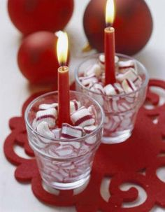 Want to add some Christmas flare to your dining room table this season! Try these super cute and simple candles.