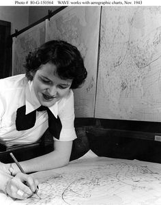 Photo #: 80-G-150564  WAVE Aerographer's Mate  Working with weather charts, at Naval Air Station, Lakehurst, New Jersey, November 1943.  Official U.S. Navy Photograph, National Archives collection.  Online Image: 99KB; 600 x 765   Reproductions may be available through the National Archives