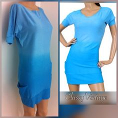 Blue Ombre' mini dress Stunning blue Ombre' tunic. Short sleeves and low pockets. Blue Ombre' color. Boat neck and ribbed bottom , pockets, neckline and cuffs. Super stretchy brushed cotton type fabric. 82% Rayon and 18 % nylon Ceres USA Dresses Mini