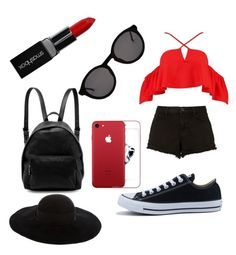"""""""Black and red"""" by unicorn2006 on Polyvore featuring Boohoo, Converse, J Brand, Thierry Lasry, Eugenia Kim, STELLA McCARTNEY and Smashbox"""