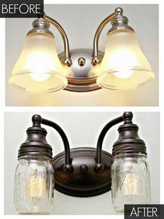 Bathroom Vanity Mason Jar Light how pretty is this? spray painted light fixture and ball jars