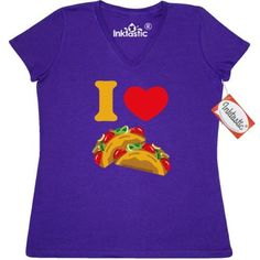 Inktastic I Love Tacos Women's V-Neck T-Shirt Heart Taco Mexican Food Pinkinkartkids Drinks Chef Cook Kitchen Coffee Clothing Apparel Tees Adult, Size: Large, Purple