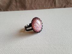 Nail Polish Ring  Round Ring  Pink Glitter by PolishedFindings