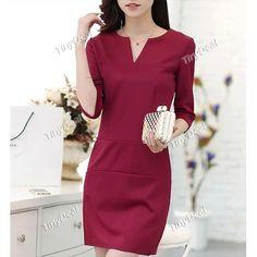 Fashion Spring/Autumn Casual Purity Elegant V-neck Knee-Length Mid Sleeve Dresses for Women DCD-352225