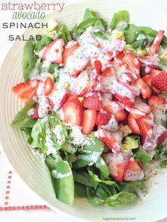 strawberry avocado spinach salad w/homemade creamy poppyseed dressing. EASY & DELICIOUS! www.togetherasfamily.com