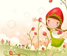 Cute Cartoon Strawberry And Sunflower Girl Vector Material