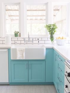 Color block a section of your kitchen cupboards for a beautiful pop of color.