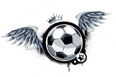 Grunge Football Vector Graphics Grunge image of **soccer ball** with wings.**ZIP contains:** - EPS Adobe Ill by Vecster Soccer Tattoos, Sport Tattoos, Johnny Orlando Instagram, Soccer Art, Wings Logo, Football Wallpaper, Most Popular Tattoos, Cute Drawings, Graphic Illustration