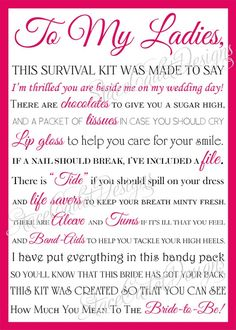 Congratulations on your upcoming wedding day! The best way to thank your girls and prepare them for your wedding day at the same time is by giving them a bridesmaid survival kit! This card is the perfect addition to these popular gift kits! How it Work Gifts For Wedding Party, Our Wedding, Dream Wedding, Party Gifts, Wedding Stuff, Summer Wedding, Party Favors, Wedding Flowers, Luxury Wedding
