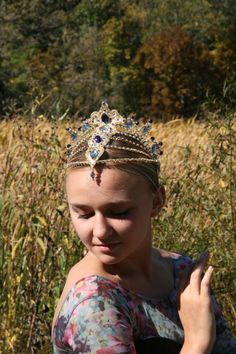Professional Ballet Headpiece Tiara Gold AB Crystal Dance Crown Head Piece Variation Pharaoh's Daughter