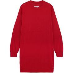 MM6 Maison Margiela Oversized jersey dress ($305) ❤ liked on Polyvore featuring dresses, sweater dress, crimson, crimson dress, mm6 maison margiela, red dress, oversized jersey dress and slip on dress