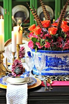 Chinoiserie mixed with varying patterns and elements. We don't hate it...