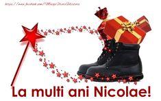 Felicitari de Mos Nicolae - La multi ani Nicolae! - mesajeurarifelicitari.com Combat Boots, Diy And Crafts, Birthday, Winter, Shoes, Anul Nou, Ely, Advent, Christmas
