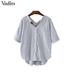 Special offer Women elegant v neck striped oversized shirts short sleeve pocket loose blouses ladies summer casual streetwear tops DT985 just only $10.22 with free shipping worldwide  #womanblousesshirts Plese click on picture to see our special price for you
