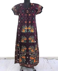 Indian Gown Cotton Maxi Kaftan Plus Size Long Bikini Cover Boho Beach Wear Maxi