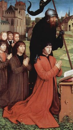 MEMLINC Hans: Flemish school (Seligenstadt, active by 1465 - 1494 Bruges) - Triptych of Willem Moreel, left wing, the founder Willem Moreel, his sons and St. William of Maleval.