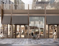Milburngate is a million masterplan set to transform a prime location in the heart of Durham city centre. Mall Facade, Retail Facade, Shop Facade, Retail Architecture, Architecture Design, Facade Design, Entrance Design, Shopping Mall Interior, Mix Use Building