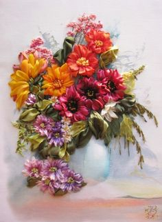 Wonderful Ribbon Embroidery Flowers by Hand Ideas. Enchanting Ribbon Embroidery Flowers by Hand Ideas. Rose Embroidery, Silk Ribbon Embroidery, Hand Embroidery Patterns, Embroidery Kits, Cross Stitch Embroidery, Embroidery Designs, Ribbon Art, Ribbon Crafts, Ribbon Rose