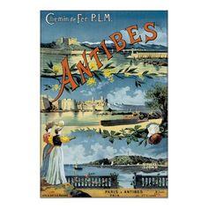 Vintage Antibes France Travel Poster Art #Posters #Vintage #France