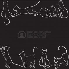 Fondo negro con el gato silueta de la frontera Foto de archivo