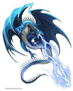 An Idle Mind's Gaming Thoughts: [Starfinder] Kethoth (Blue Dragon Male Fantasy Kunst, Dark Fantasy Art, Fantasy Artwork, Design Dragon, Lightning Dragon, Mythical Creatures Art, Dragon Illustration, Dragon Artwork, Dragon Drawings