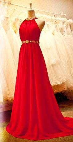 Sexy Bright Red Chiffon Halter 2015 Prom Dresses with Crystal Sash Long Train Ruffles Custom Made Evening Gowns. 2015 formal dresses, latest evening dresses, popular prom dresses
