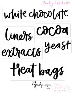 Free Printable Pantry Labels to use on clear sticker paper. Related