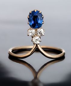 Antique sapphire and diamond engagement ring.