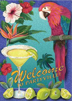 "Partyville Summer House Flag Jimmy Buffet Margaritaville 5 o""clock x 696552351501 Flag Store, Colorful Parrots, Donia, Garden Decor Items, House Flags, Flag Design, Exotic Birds, Tropical Paradise, Garden Flags"